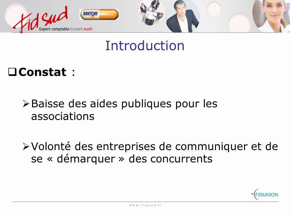 Introduction  Constat :  Baisse des aides publiques pour les associations  Volonté des entreprises de communiquer et de se « démarquer » des concurrents
