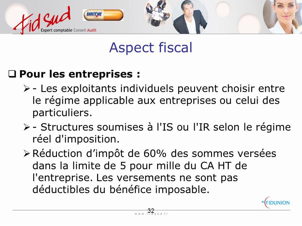 32 Aspect fiscal  Pour les entreprises :  - Les exploitants individuels peuvent choisir entre le régime applicable aux entreprises ou celui des particuliers.