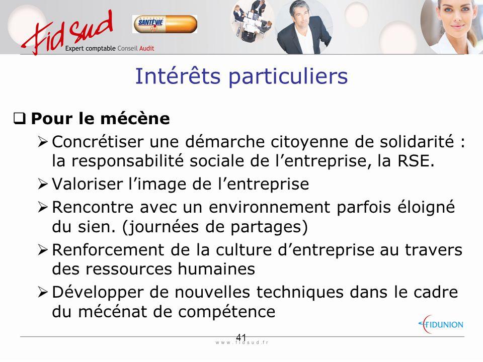 41 Intérêts particuliers  Pour le mécène  Concrétiser une démarche citoyenne de solidarité : la responsabilité sociale de l'entreprise, la RSE.
