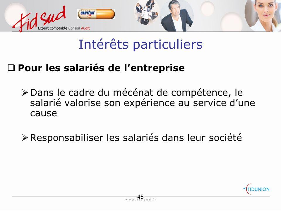 45 Intérêts particuliers  Pour les salariés de l'entreprise  Dans le cadre du mécénat de compétence, le salarié valorise son expérience au service d'une cause  Responsabiliser les salariés dans leur société