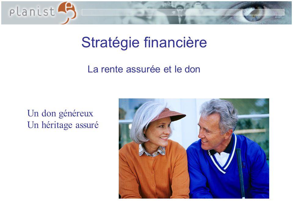 Objectifs de la stratégie - Favoriser un organisme de bienfaisance; - Choisir un placement garanti à vie; - Maximiser le rendement; - Éliminer le facteur risque; -Diminuer l'impact fiscal; - Garantir un revenu annuel à vie; - Garantir aux héritiers le capital initial; - Comparer ce choix à d'autres scénarios.