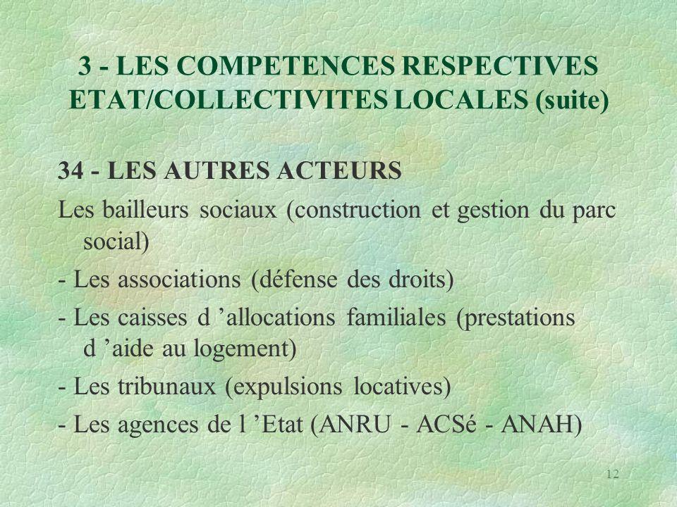 12 3 - LES COMPETENCES RESPECTIVES ETAT/COLLECTIVITES LOCALES (suite) 34 - LES AUTRES ACTEURS Les bailleurs sociaux (construction et gestion du parc social) - Les associations (défense des droits) - Les caisses d 'allocations familiales (prestations d 'aide au logement) - Les tribunaux (expulsions locatives) - Les agences de l 'Etat (ANRU - ACSé - ANAH)