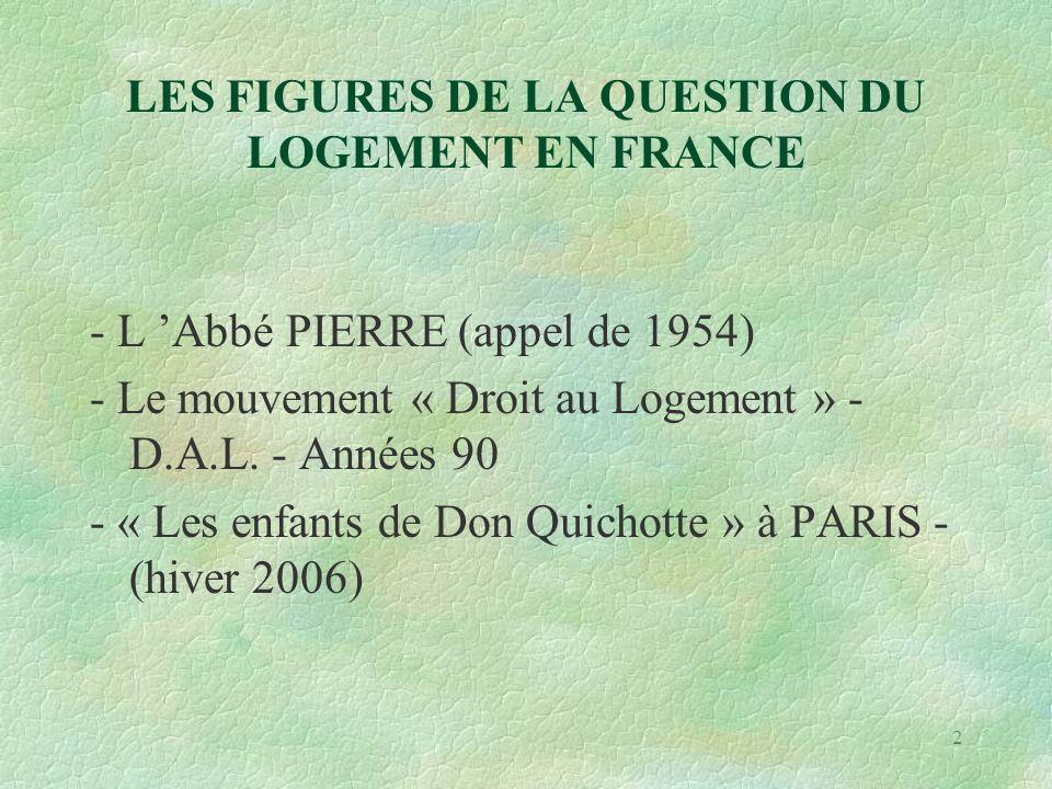 2 LES FIGURES DE LA QUESTION DU LOGEMENT EN FRANCE - L 'Abbé PIERRE (appel de 1954) - Le mouvement « Droit au Logement » - D.A.L.