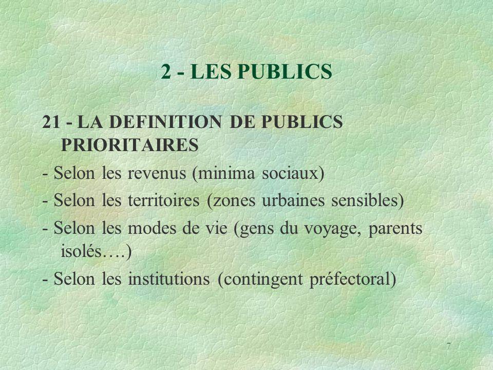 7 2 - LES PUBLICS 21 - LA DEFINITION DE PUBLICS PRIORITAIRES - Selon les revenus (minima sociaux) - Selon les territoires (zones urbaines sensibles) - Selon les modes de vie (gens du voyage, parents isolés….) - Selon les institutions (contingent préfectoral)