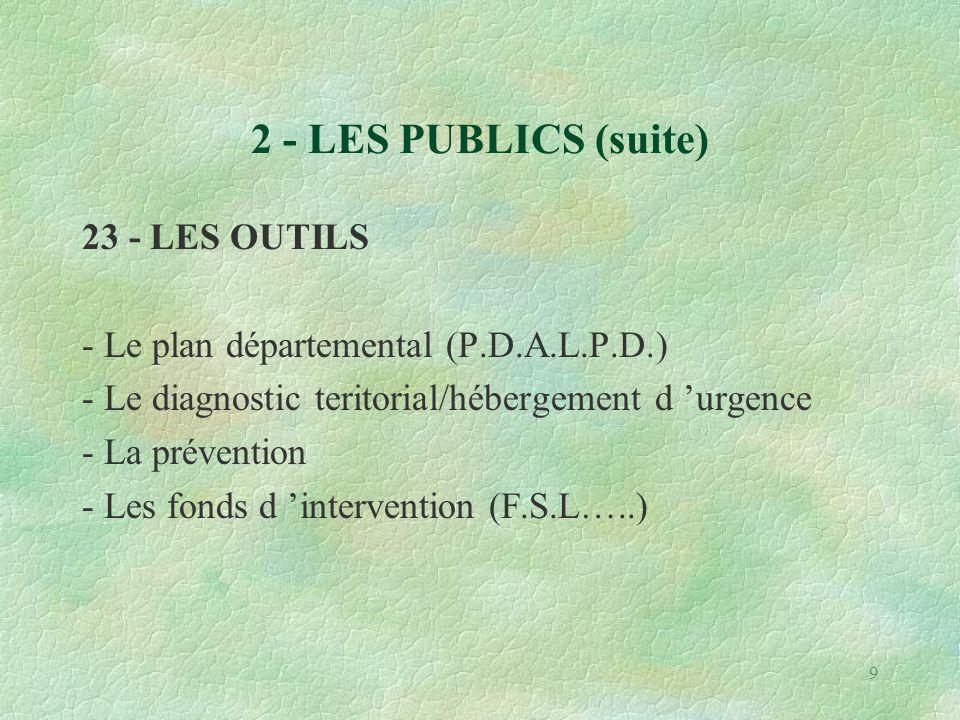 9 2 - LES PUBLICS (suite) 23 - LES OUTILS - Le plan départemental (P.D.A.L.P.D.) - Le diagnostic teritorial/hébergement d 'urgence - La prévention - Les fonds d 'intervention (F.S.L…..)