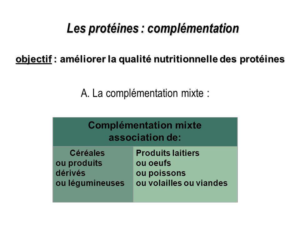 Les protéines : complémentation objectif : améliorer la qualité nutritionnelle des protéines Complémentation mixte association de: Céréales ou produit