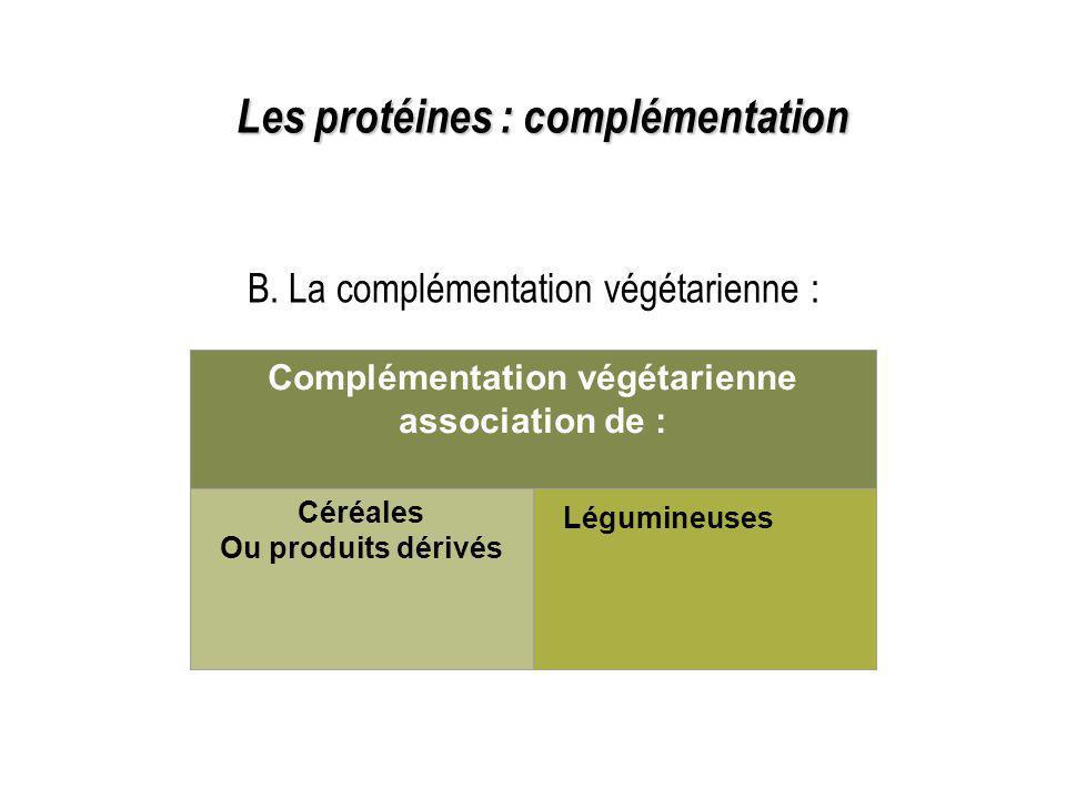 B. La complémentation végétarienne : Les protéines : complémentation Complémentation végétarienne association de : Céréales Ou produits dérivés Légumi