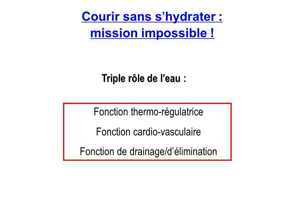 Courir sans s ' hydrater : mission impossible ! Triple rôle de l'eau : Fonction thermo-régulatrice Fonction cardio-vasculaire Fonction de drainage/d'é