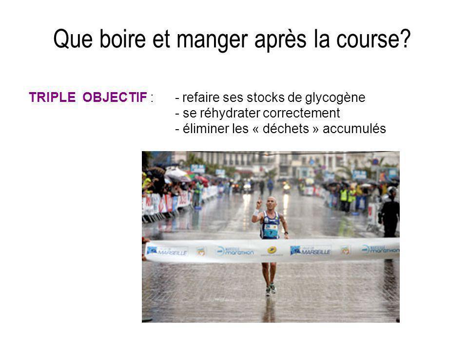 Que boire et manger après la course? TRIPLE OBJECTIF : - refaire ses stocks de glycogène - se réhydrater correctement - éliminer les « déchets » accum