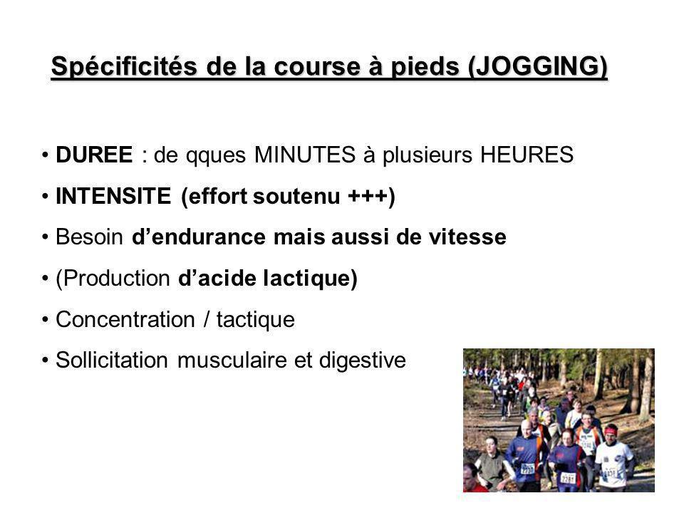 Spécificités de la course à pieds (JOGGING) DUREE : de qques MINUTES à plusieurs HEURES INTENSITE (effort soutenu +++) Besoin d'endurance mais aussi d