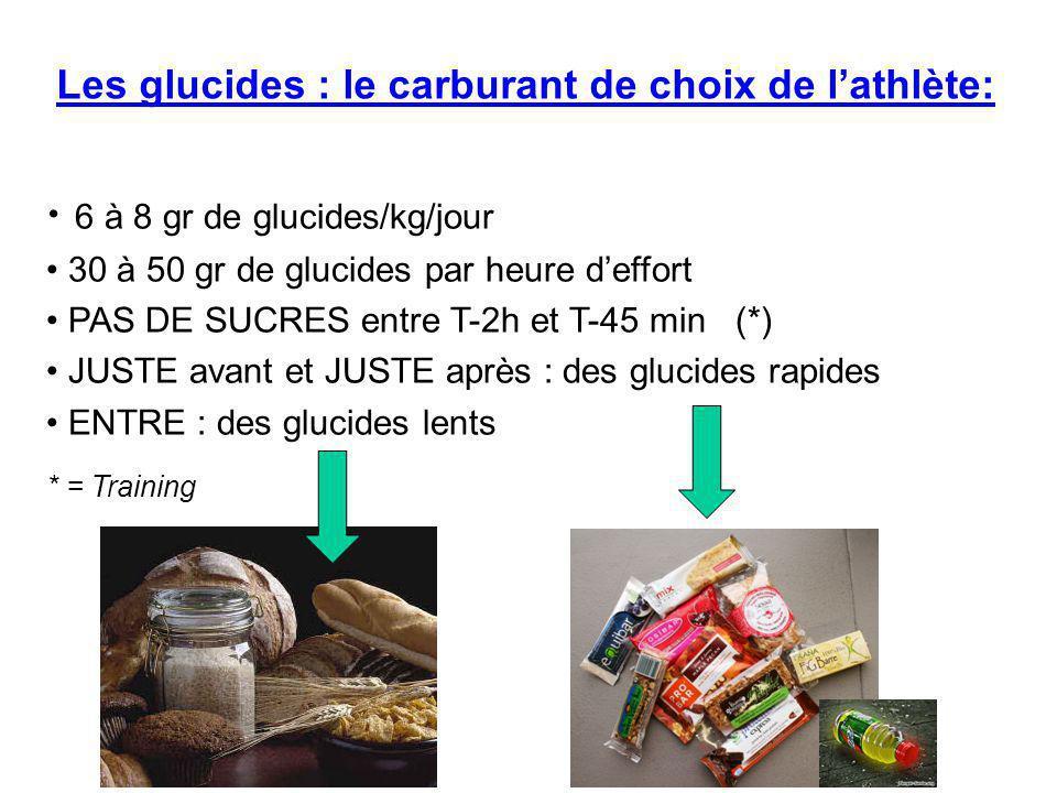 6 à 8 gr de glucides/kg/jour 30 à 50 gr de glucides par heure d'effort PAS DE SUCRES entre T-2h et T-45 min (*) JUSTE avant et JUSTE après : des gluci