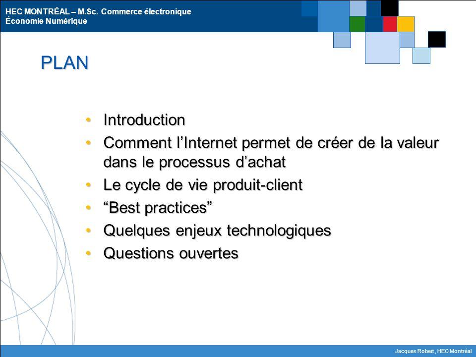HEC MONTRÉAL – M.Sc. Commerce électronique Économie Numérique Jacques Robert, HEC Montréal PLAN IntroductionIntroduction Comment l'Internet permet de