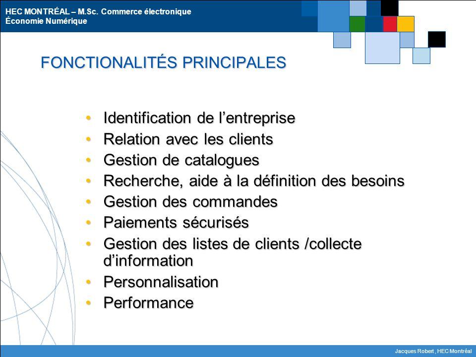 HEC MONTRÉAL – M.Sc. Commerce électronique Économie Numérique Jacques Robert, HEC Montréal FONCTIONALITÉS PRINCIPALES Identification de l'entrepriseId