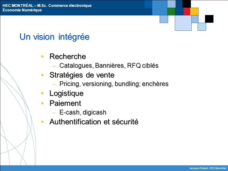 HEC MONTRÉAL – M.Sc. Commerce électronique Économie Numérique Jacques Robert, HEC Montréal Un vision intégrée RechercheRecherche – Catalogues, Bannièr