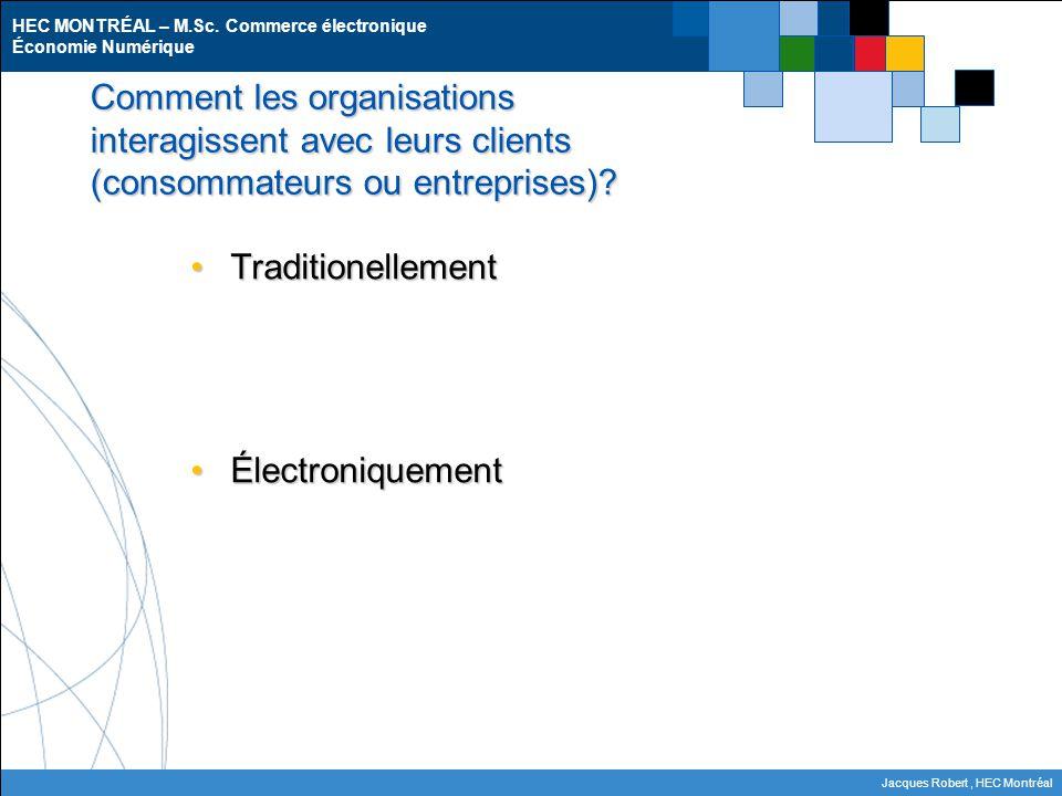 HEC MONTRÉAL – M.Sc. Commerce électronique Économie Numérique Jacques Robert, HEC Montréal Comment les organisations interagissent avec leurs clients