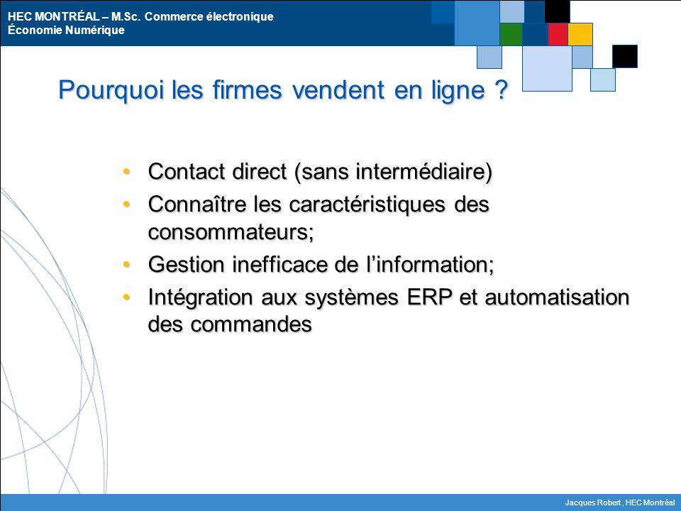 HEC MONTRÉAL – M.Sc. Commerce électronique Économie Numérique Jacques Robert, HEC Montréal Pourquoi les firmes vendent en ligne ? Contact direct (sans