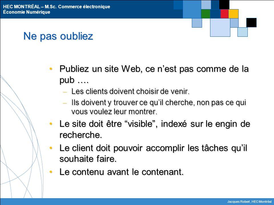HEC MONTRÉAL – M.Sc. Commerce électronique Économie Numérique Jacques Robert, HEC Montréal Ne pas oubliez Publiez un site Web, ce n'est pas comme de l