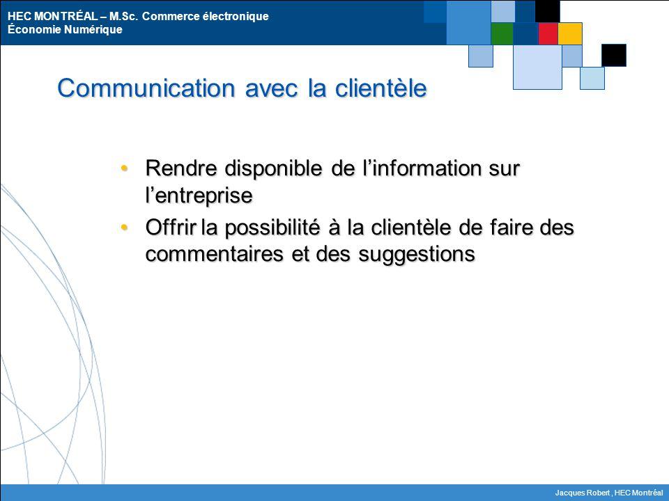 HEC MONTRÉAL – M.Sc. Commerce électronique Économie Numérique Jacques Robert, HEC Montréal Communication avec la clientèle Rendre disponible de l'info