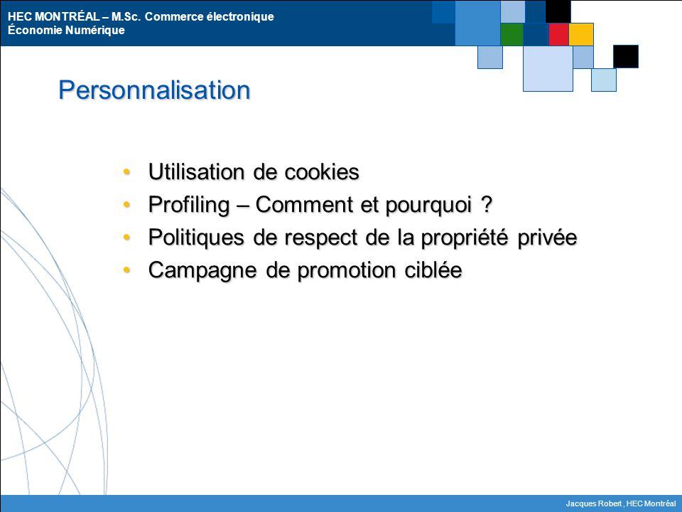 HEC MONTRÉAL – M.Sc. Commerce électronique Économie Numérique Jacques Robert, HEC Montréal Personnalisation Utilisation de cookiesUtilisation de cooki