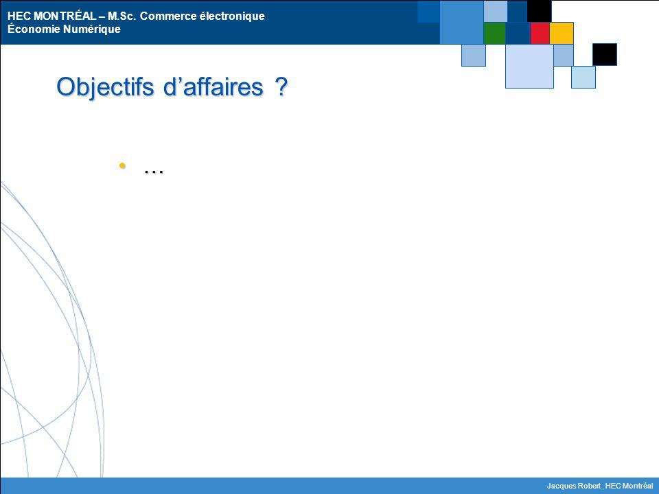 HEC MONTRÉAL – M.Sc. Commerce électronique Économie Numérique Jacques Robert, HEC Montréal Objectifs d'affaires ? …