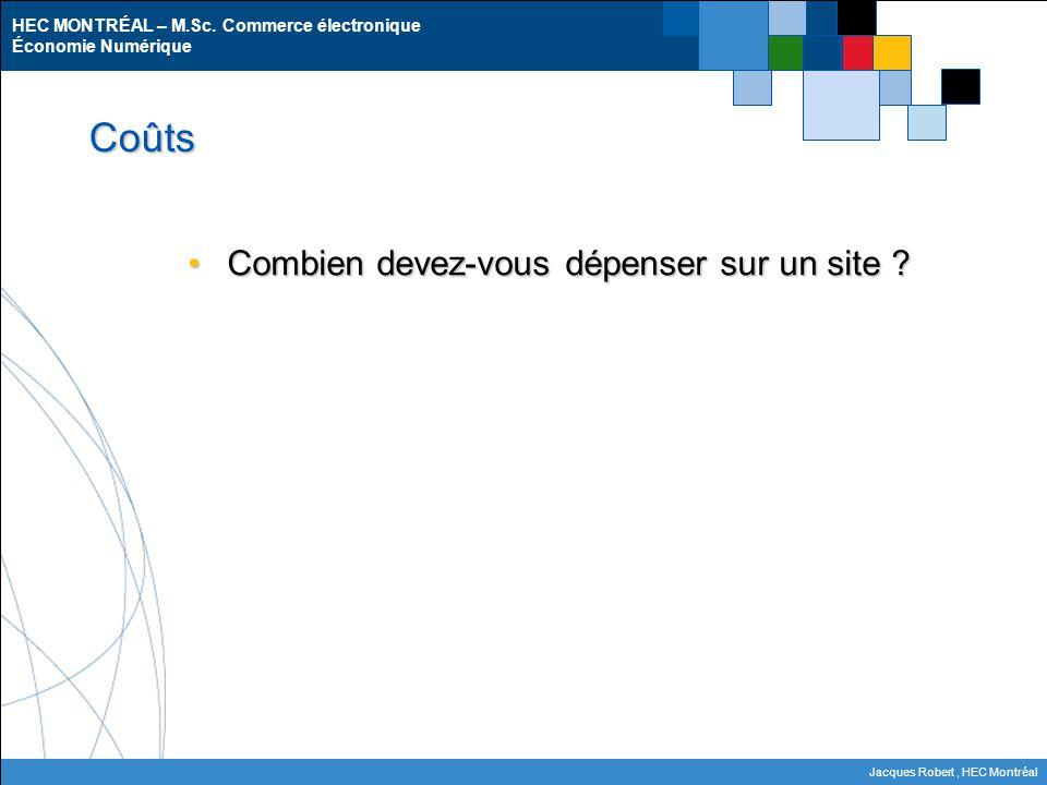 HEC MONTRÉAL – M.Sc. Commerce électronique Économie Numérique Jacques Robert, HEC Montréal Coûts Combien devez-vous dépenser sur un site ?Combien deve