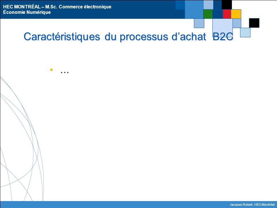 HEC MONTRÉAL – M.Sc. Commerce électronique Économie Numérique Jacques Robert, HEC Montréal Caractéristiques du processus d'achat B2C …