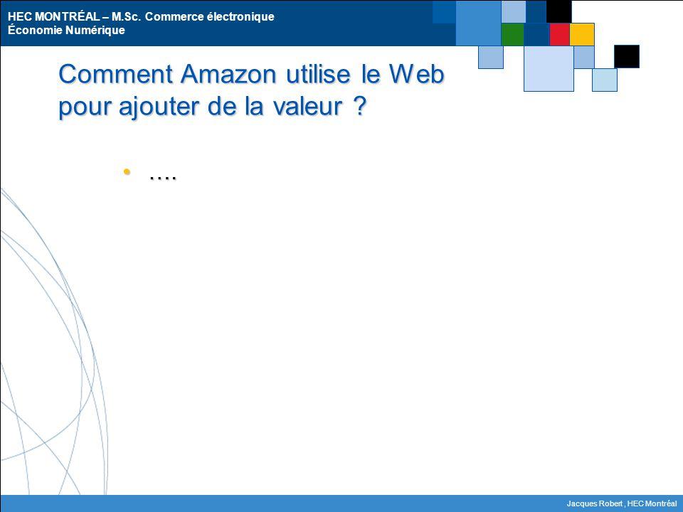 HEC MONTRÉAL – M.Sc. Commerce électronique Économie Numérique Jacques Robert, HEC Montréal Comment Amazon utilise le Web pour ajouter de la valeur ? …