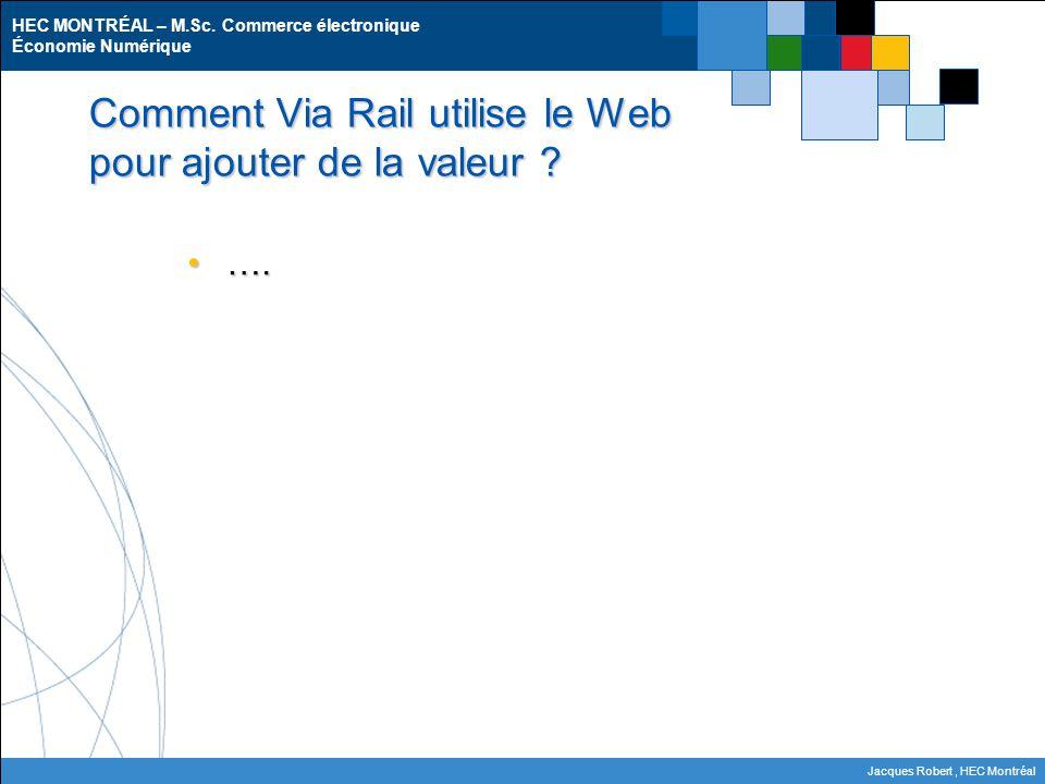 HEC MONTRÉAL – M.Sc. Commerce électronique Économie Numérique Jacques Robert, HEC Montréal Comment Via Rail utilise le Web pour ajouter de la valeur ?