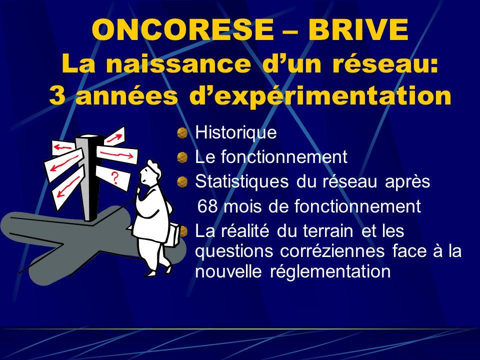 ONCORESE – BRIVE Historique Naissance d'Oncorèse le 2 janvier 2 000 Mise en place d'une structure relationnelle entre la ville et l'hôpital Rôle de la pharmacie dans le réseau