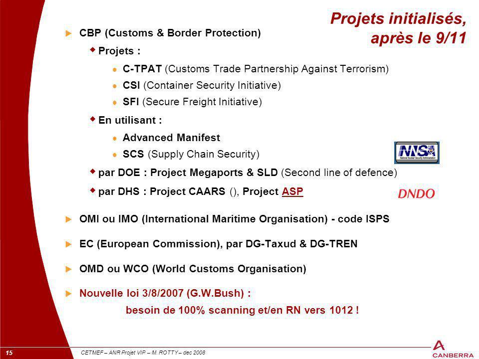 15 CETMEF – ANR Projet VIP – M. ROTTY – dec 2008 Projets initialisés, après le 9/11  CBP (Customs & Border Protection)  Projets : C-TPAT (Customs Tr