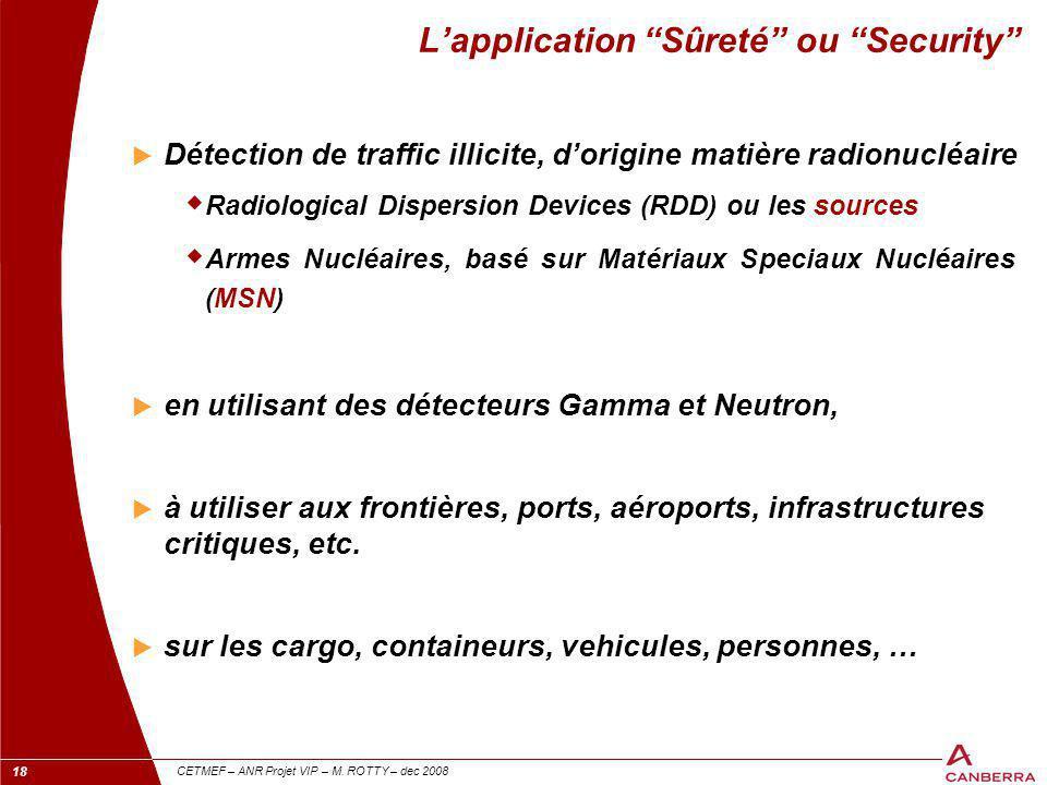 """18 CETMEF – ANR Projet VIP – M. ROTTY – dec 2008 L'application """"Sûreté"""" ou """"Security""""  Détection de traffic illicite, d'origine matière radionucléair"""