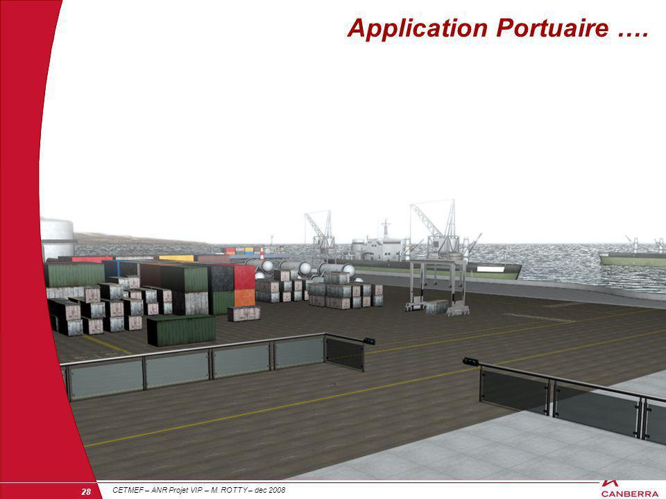 28 CETMEF – ANR Projet VIP – M. ROTTY – dec 2008 Application Portuaire …. 28