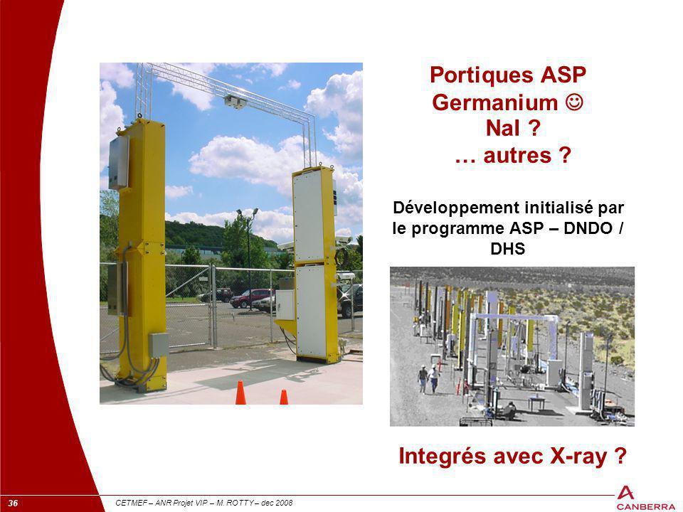 36 CETMEF – ANR Projet VIP – M. ROTTY – dec 2008 Portiques ASP Germanium Développement initialisé par le programme ASP – DNDO / DHS NaI ? … autres ? I