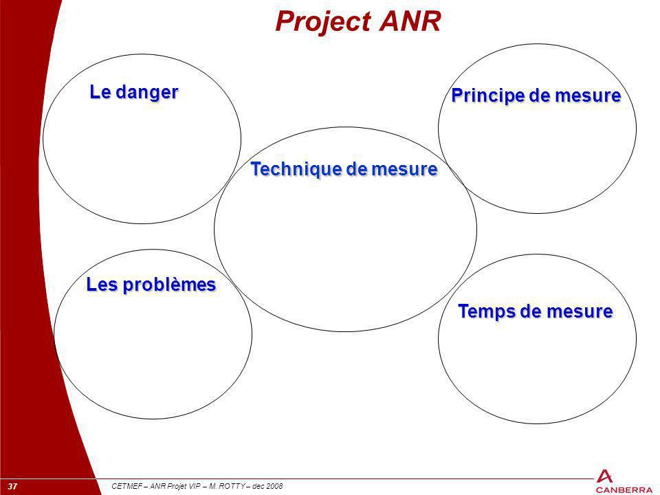 37 CETMEF – ANR Projet VIP – M. ROTTY – dec 2008 Le danger Les problèmes Technique de mesure Temps de mesure Principe de mesure Project ANR