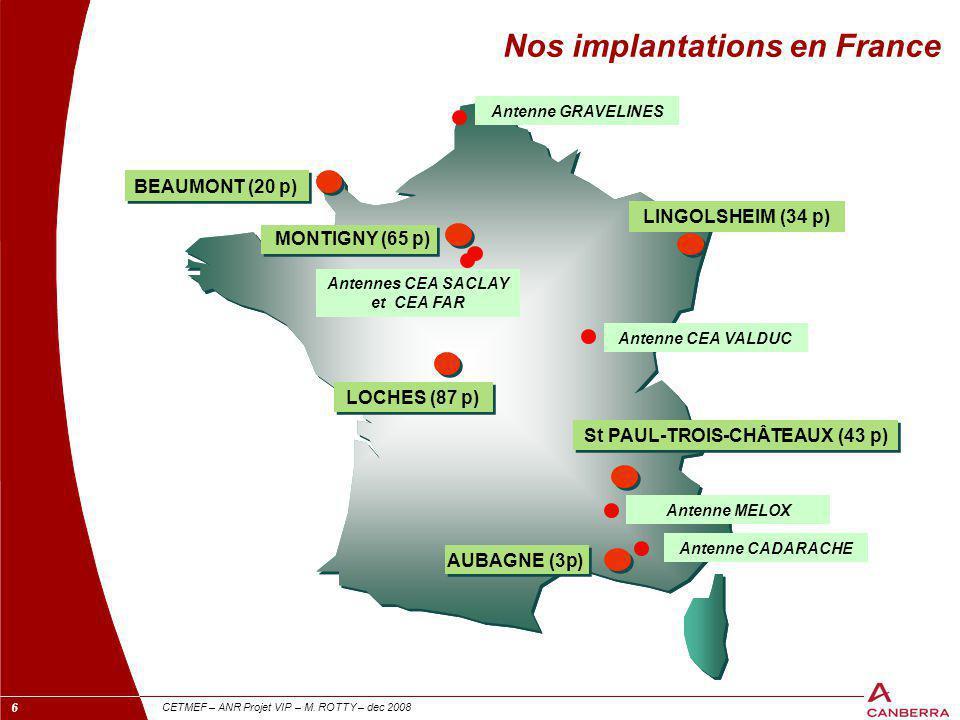 6 CETMEF – ANR Projet VIP – M. ROTTY – dec 2008 BEAUMONT (20 p) LOCHES (87 p) St PAUL-TROIS-CHÂTEAUX (43 p) Nos implantations en France Antenne GRAVEL