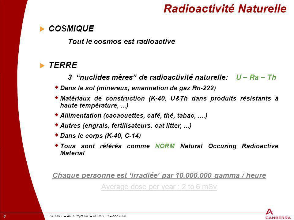 """8 CETMEF – ANR Projet VIP – M. ROTTY – dec 2008 Radioactivité Naturelle  COSMIQUE Tout le cosmos est radioactive  TERRE 3 """"nuclides mères"""" de radioa"""
