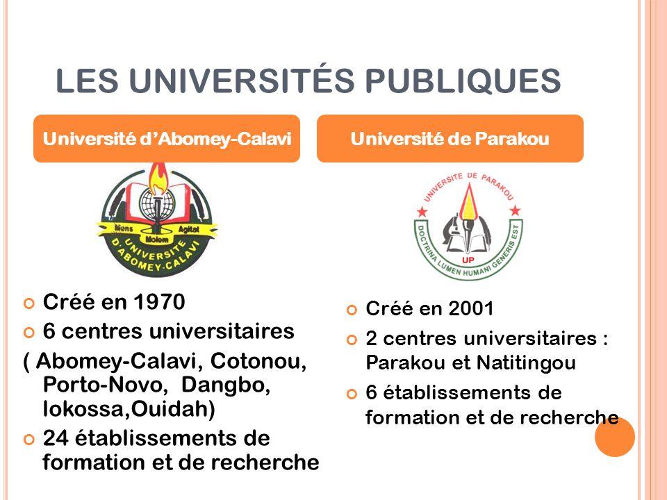 LES UNIVERSITÉS PUBLIQUES Créé en 1970 6 centres universitaires ( Abomey-Calavi, Cotonou, Porto-Novo, Dangbo, lokossa,Ouidah) 24 établissements de for