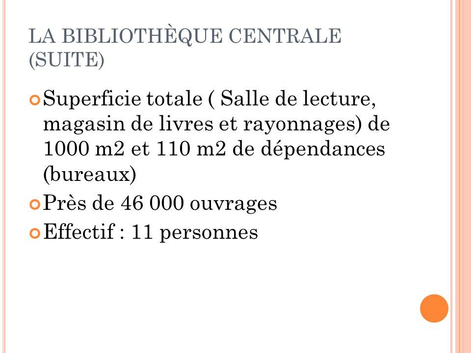 LA BIBLIOTHÈQUE CENTRALE (SUITE) Superficie totale ( Salle de lecture, magasin de livres et rayonnages) de 1000 m2 et 110 m2 de dépendances (bureaux)