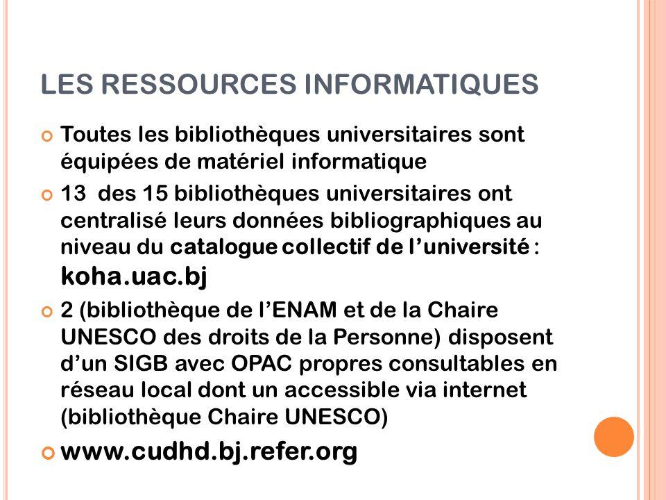 LES RESSOURCES INFORMATIQUES Toutes les bibliothèques universitaires sont équipées de matériel informatique 13 des 15 bibliothèques universitaires ont