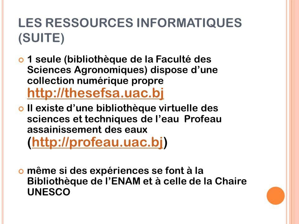 LES RESSOURCES INFORMATIQUES (SUITE) 1 seule (bibliothèque de la Faculté des Sciences Agronomiques) dispose d'une collection numérique propre http://t