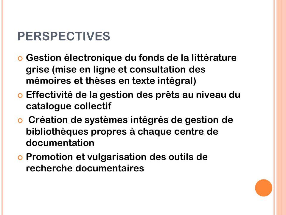 PERSPECTIVES Gestion électronique du fonds de la littérature grise (mise en ligne et consultation des mémoires et thèses en texte intégral) Effectivit