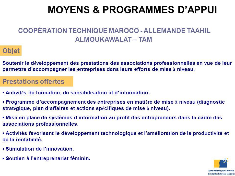 MOYENS & PROGRAMMES D'APPUI COOPÉRATION TECHNIQUE MAROCO - ALLEMANDE TAAHIL ALMOUKAWALAT – TAM Objet Soutenir le d é veloppement des prestations des a