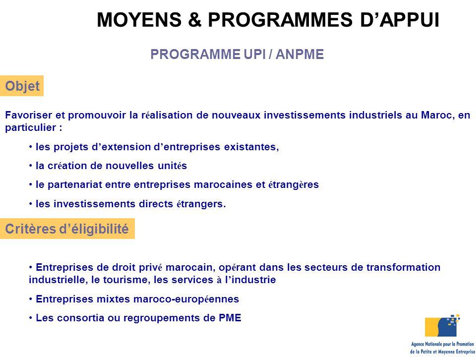 MOYENS & PROGRAMMES D'APPUI Objet Favoriser et promouvoir la r é alisation de nouveaux investissements industriels au Maroc, en particulier : les proj