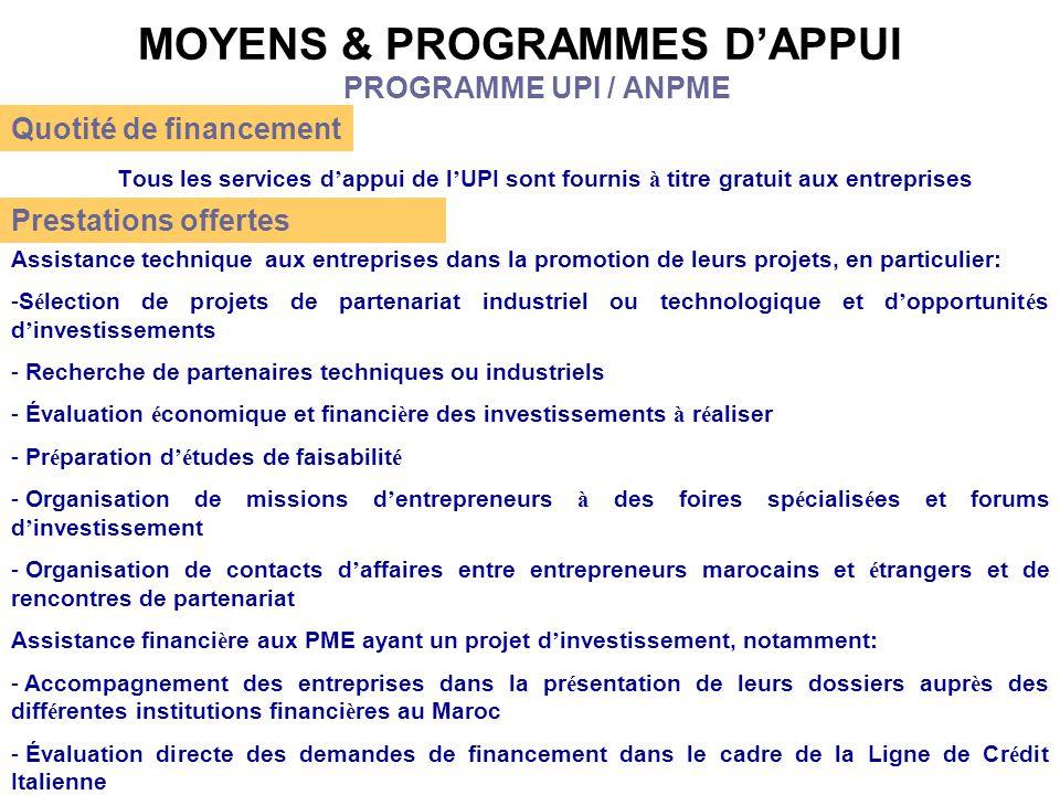 MOYENS & PROGRAMMES D'APPUI Tous les services d ' appui de l ' UPI sont fournis à titre gratuit aux entreprises PROGRAMME UPI / ANPME Quotité de finan