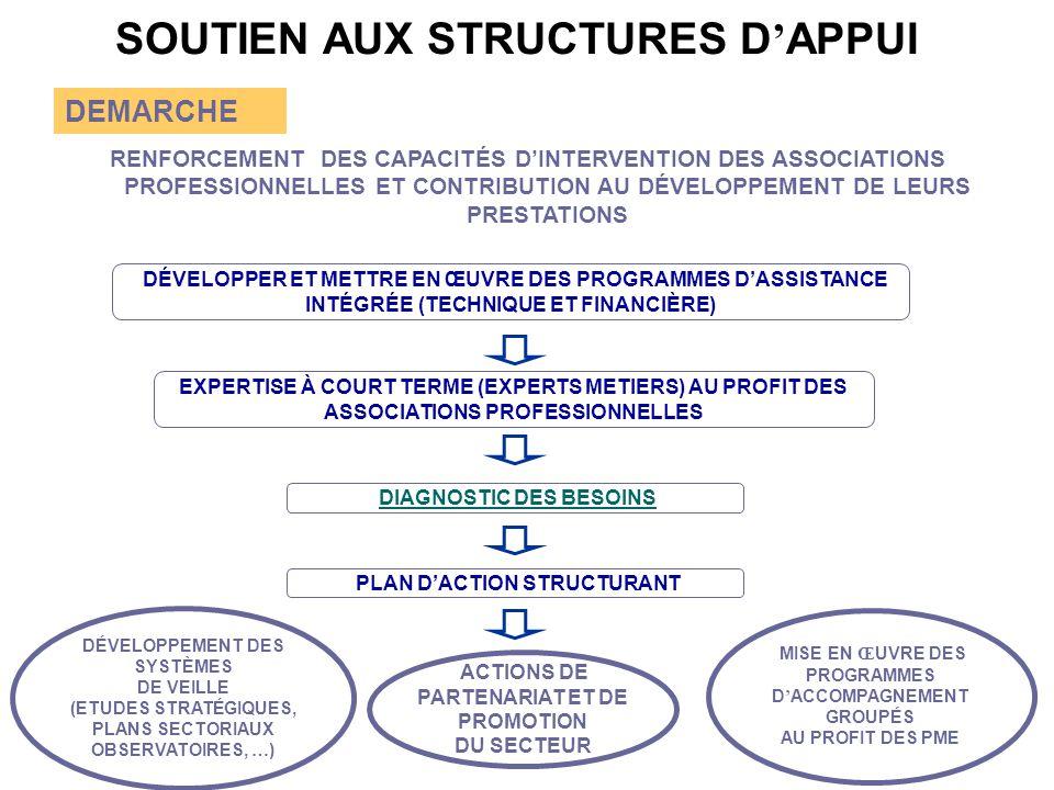SOUTIEN AUX STRUCTURES D ' APPUI DEMARCHE RENFORCEMENT DES CAPACITÉS D'INTERVENTION DES ASSOCIATIONS PROFESSIONNELLES ET CONTRIBUTION AU DÉVELOPPEMENT DE LEURS PRESTATIONS DIAGNOSTIC DES BESOINS PLAN D'ACTION STRUCTURANT DÉVELOPPEMENT DES SYSTÈMES DE VEILLE (ETUDES STRATÉGIQUES, PLANS SECTORIAUX OBSERVATOIRES, … ) MISE EN Œ UVRE DES PROGRAMMES D ' ACCOMPAGNEMENT GROUPÉS AU PROFIT DES PME EXPERTISE À COURT TERME (EXPERTS METIERS) AU PROFIT DES ASSOCIATIONS PROFESSIONNELLES DÉVELOPPER ET METTRE EN ŒUVRE DES PROGRAMMES D'ASSISTANCE INTÉGRÉE (TECHNIQUE ET FINANCIÈRE) ACTIONS DE PARTENARIAT ET DE PROMOTION DU SECTEUR