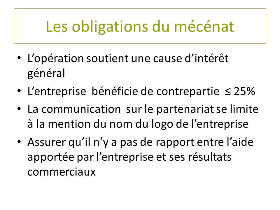 Les obligations du mécénat L'opération soutient une cause d'intérêt général L'entreprise bénéficie de contrepartie ≤ 25% La communication sur le parte