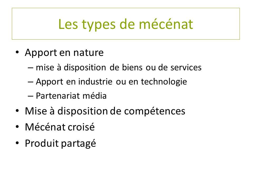 Les types de mécénat Apport en nature – mise à disposition de biens ou de services – Apport en industrie ou en technologie – Partenariat média Mise à