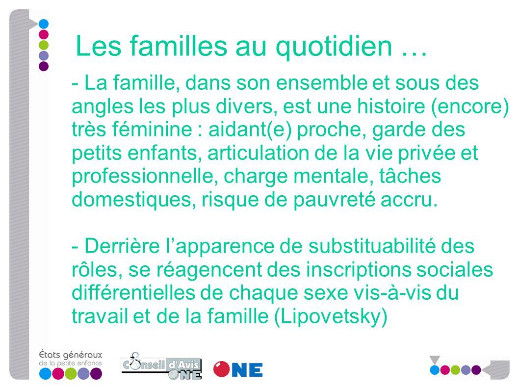 - La famille, dans son ensemble et sous des angles les plus divers, est une histoire (encore) très féminine : aidant(e) proche, garde des petits enfan