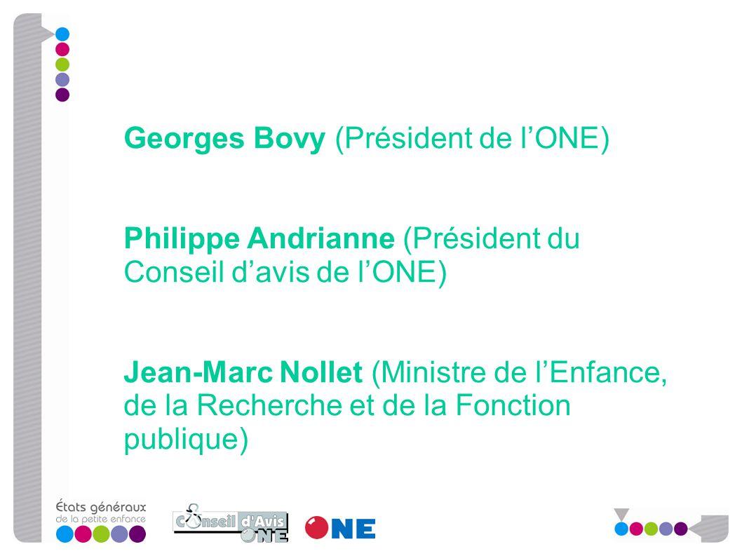 Georges Bovy (Président de l'ONE) Philippe Andrianne (Président du Conseil d'avis de l'ONE) Jean-Marc Nollet (Ministre de l'Enfance, de la Recherche e