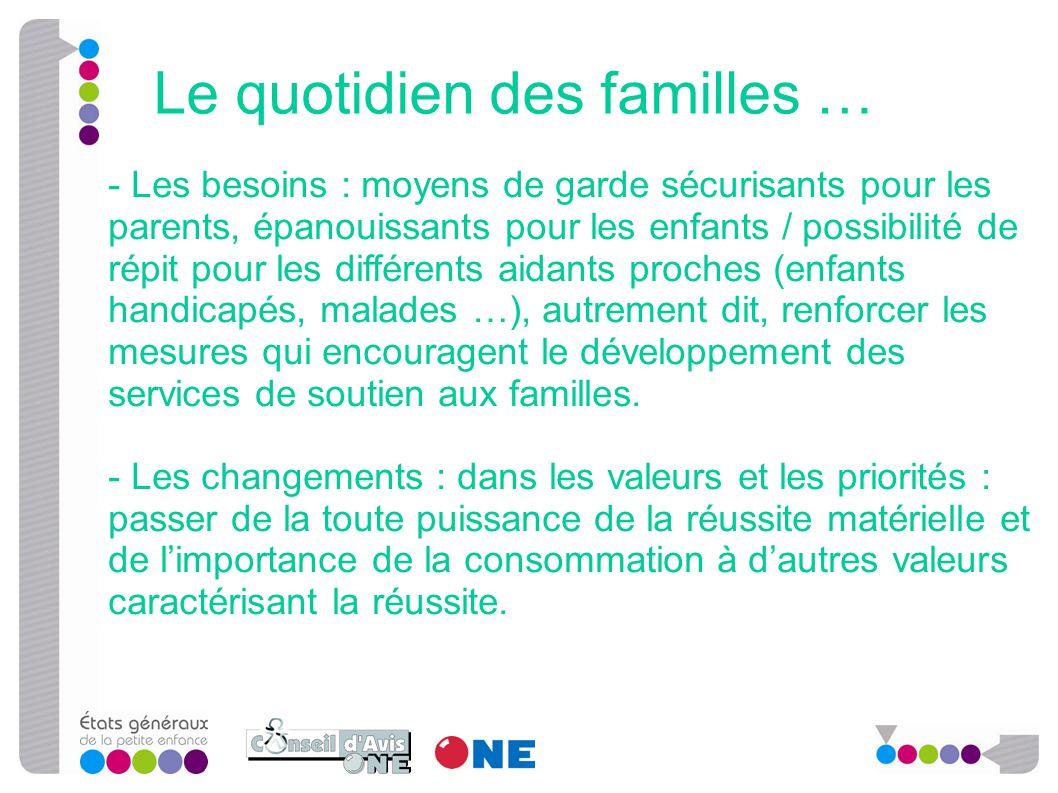 - Les besoins : moyens de garde sécurisants pour les parents, épanouissants pour les enfants / possibilité de répit pour les différents aidants proche